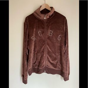 NWOT BCBG brown signature zip sweat top